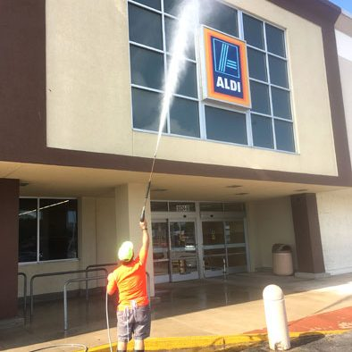 Commercial storefront pressure washing Orlando